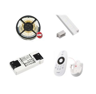 LED-nauha, muuntaja ja kaukosäädin